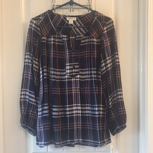 Style & Co. Petite Plaid High Low Blouse